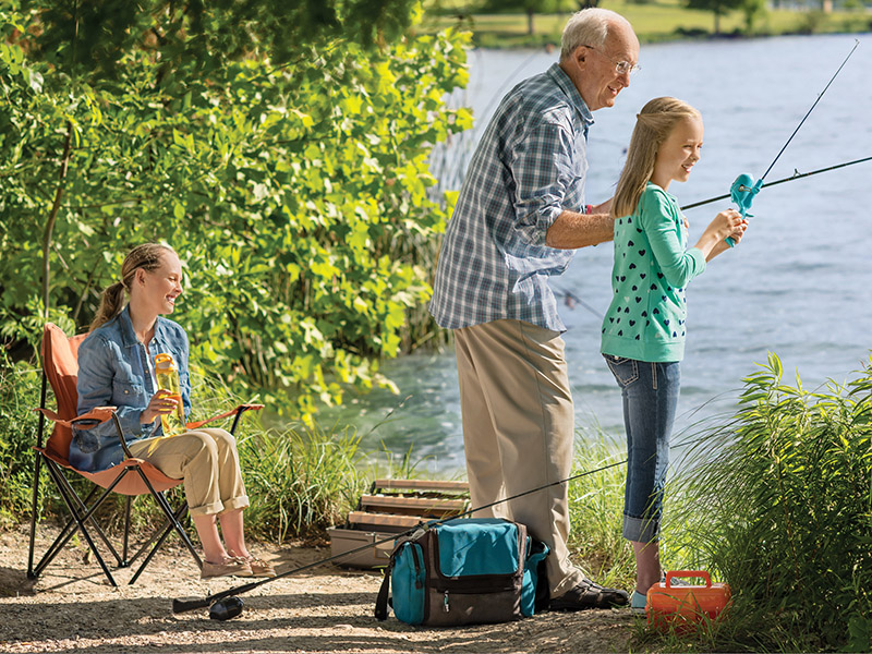 Grandfather Fishing with Kids